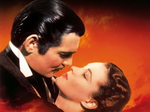 Vivien Leigh (Scarlett O'Hara) and Clark Gable (Rhett Butler) in Gone with the Wind.