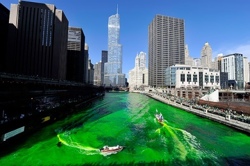 The water of the river in Chicago turns green