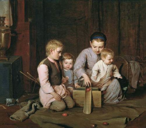 Children rolling Easter eggs - Nikolay Andreevich Koshelev